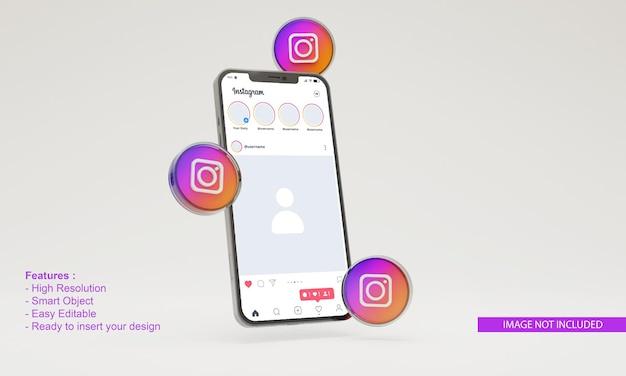 3dアイコンinstagram携帯電話モックアップ