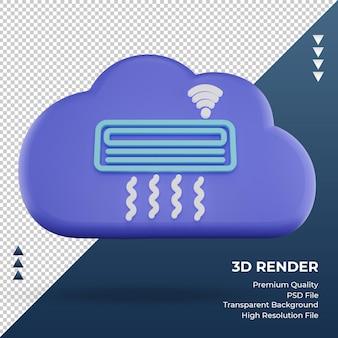 3d значок интернет облако кондиционер знак рендеринга вид спереди