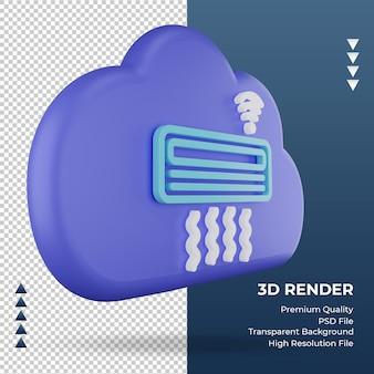3d значок интернет облако кондиционер знак рендеринга вид слева