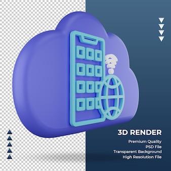 3d значок интернет-облако знак приложения рендеринга вид слева