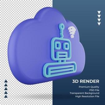 3d значок интернет облако бот знак рендеринга вид слева