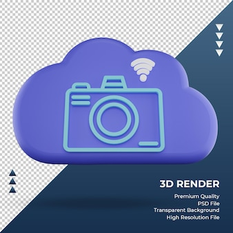 3d icon internet cloud camera sign rendering front view