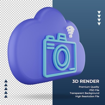 3d icon internet cloud camera sign rendering left view