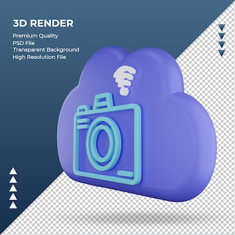 3d icon internet cloud camera sign rendering right view
