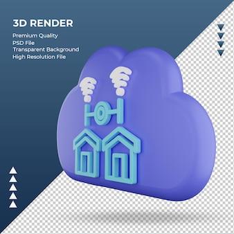 3d значок интернет облако знак домашней сети рендеринга правый вид