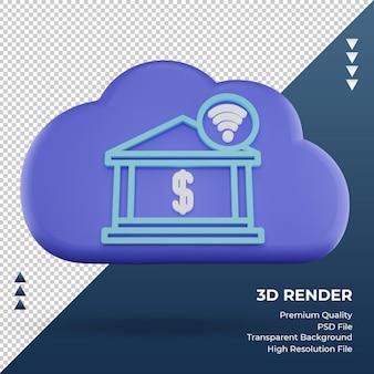 3d значок интернет облако интернет-банкинг знак рендеринга вид спереди