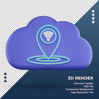 3d значок интернет облако расположение знак рендеринг вид спереди