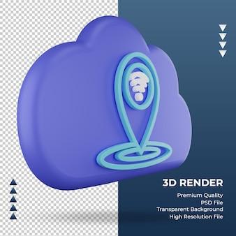 3d значок интернет облако расположение знак рендеринга вид слева