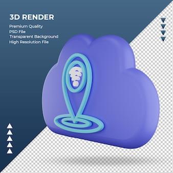 3d значок интернет облако расположение знак рендеринга правый вид