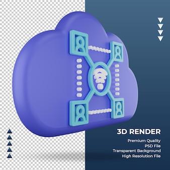 3d значок интернет облако знак сети рендеринга вид слева