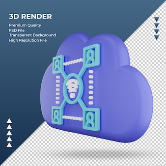 3d значок интернет облако знак сети рендеринга правый вид