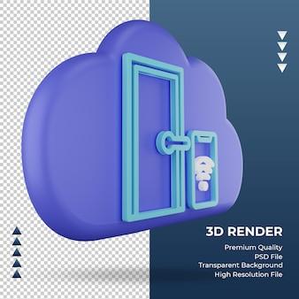 3d значок интернет облако умная дверь знак рендеринга вид слева