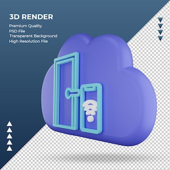 3d значок интернет облако умная дверь знак рендеринга правый вид