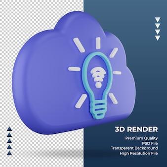 3d значок интернет облако умный свет знак рендеринга вид слева