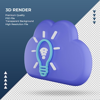 3d значок интернет облако умный свет знак рендеринга правильный вид