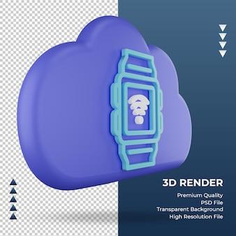 3d значок интернет облако smartwatch знак рендеринга вид слева