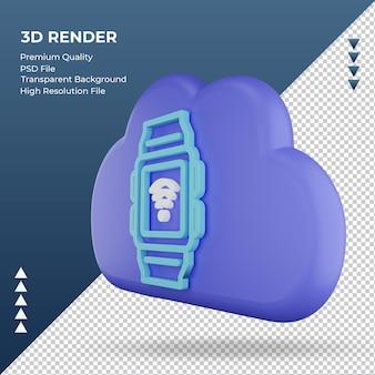 3d значок интернет облако smartwatch знак рендеринга правый вид