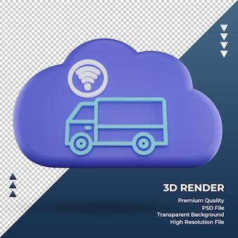 3d значок интернет облако грузовик знак рендеринга вид спереди