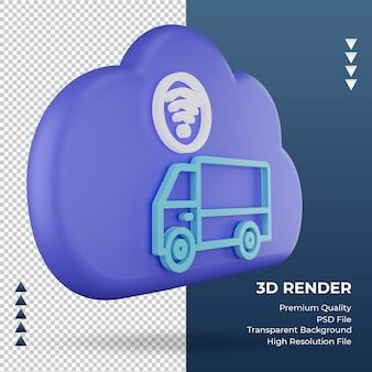 3d значок интернет облако грузовик знак рендеринга вид слева