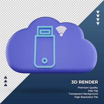 3d icon internet cloud usb modem sign rendering front view