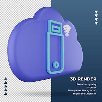 3d icon internet cloud usb modem sign rendering left view