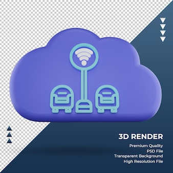 3d значок интернет облако wi-fi зона знак рендеринг вид спереди