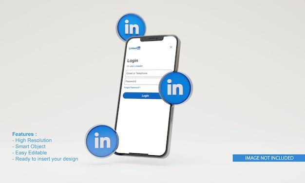 그림 휴대 전화 목업에 연결된 3d 아이콘
