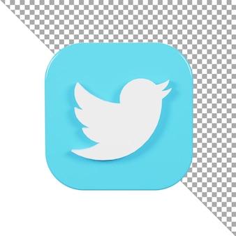 3d значок логотип twitter минималистский