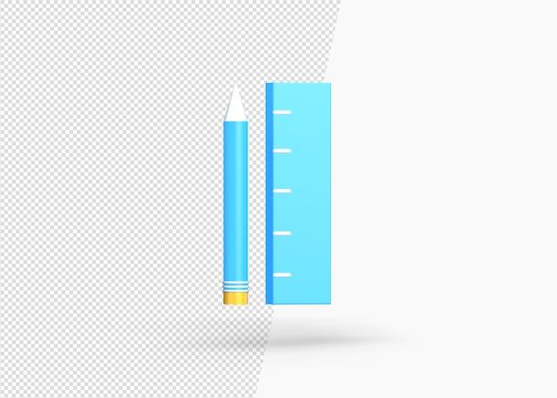 펜 및 눈금자 렌더링의 3d 아이콘