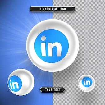 고립 된 소셜 미디어의 3d 아이콘 linkedin