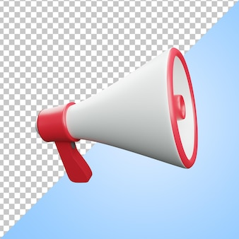 3d icon red and white broadcast megaphone