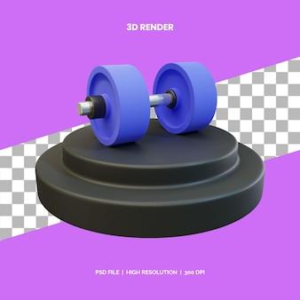 3d рендеринг иконок фитнес-тренажеры гантели