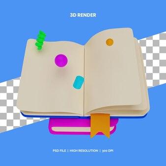 Открытая книга рендеринга значков 3d