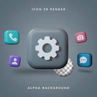 스마트 폰 렌더링의 3d 아이콘 세트