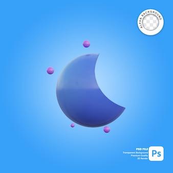 3d значок погоды синий полумесяц