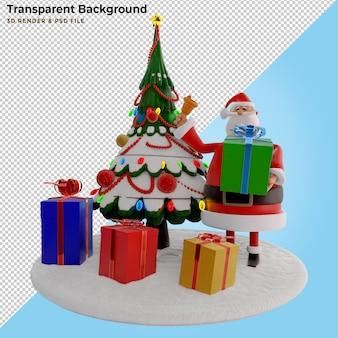 Illustrazione 3d. babbo natale 3d con regali enormi e albero di pino