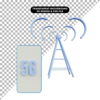 3d иллюстрации сеть 5g на телефоне с башней