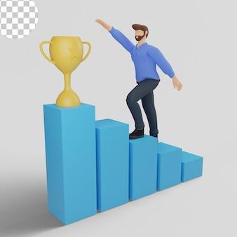 3d иллюстрации цель достижения с парнем в синем