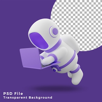 3d illustration astronaut flying using laptop design icon assets high quality