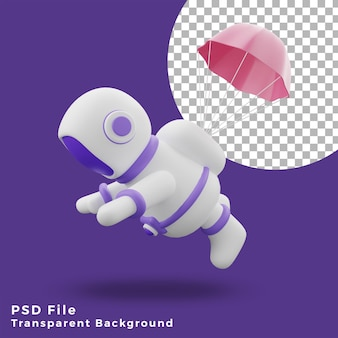 3d illustration astronaut flying using parachute design icon assets high quality