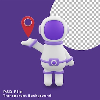 3d illustration astronaut holding location icon gesture design assets high quality