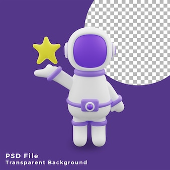 3d illustration astronaut holding star gesture design icon assets high quality