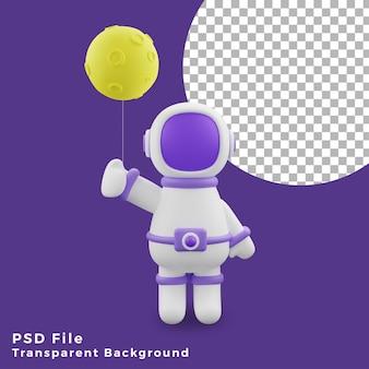 3d illustration astronaut moon balloon design icon assets high quality