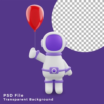 3d illustration astronaut red balloon design icon assets high quality