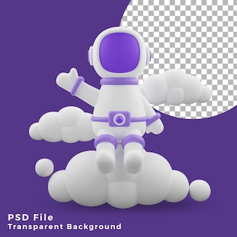 3d illustration astronaut sitting on the cloud front design icon assets high quality