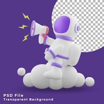 3d illustration astronaut sitting on the cloud using megaphone design icon assets high quality