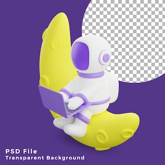 3d illustration astronaut sitting on the half moon using laptop design icon assets high quality