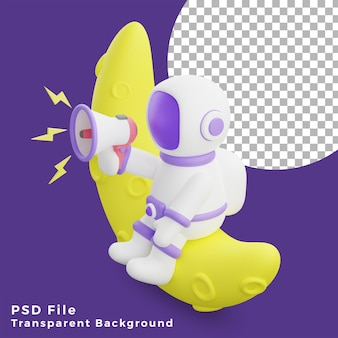 3d illustration astronaut sitting on the half moon using megaphone design icon assets high quality