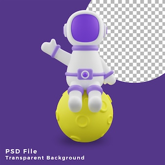 3d illustration astronaut sitting on the moon design icon assets high quality