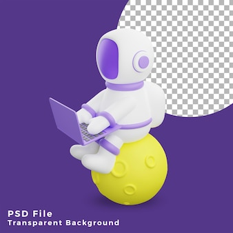 3d illustration astronaut sitting on the moon using laptop design icon assets high quality